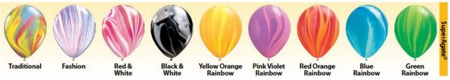 colors of agate balloon which look like marble balloons such as Yellow Orange Rainbow or Pink Valentine Rainbow